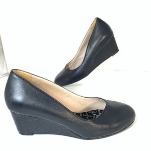 Vionic Antonia Mid Wedge Leather Pumps Black 6.5